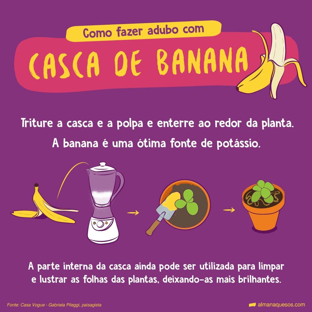 Como fazer adubo com Casca de banana Triture a casca e a polpa e enterre ao redor da planta. A banana é uma ótima fonte de potássio. A parte interna da casca ainda pode ser utilizada para limpar e lustrar as folhas das plantas, deixando-as mais brilhantes. Fonte: Casa Vogue - Gabriela Pileggi, paisagista