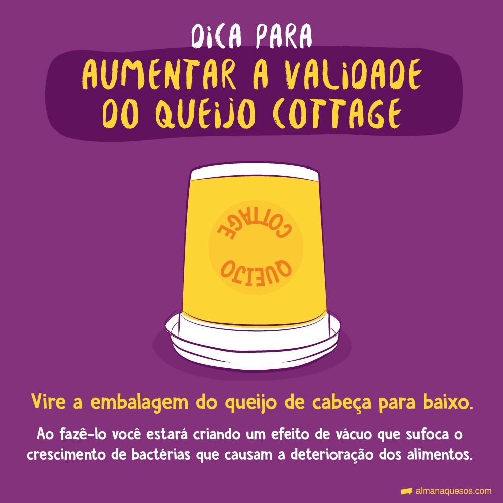 Dica para aumentar a validade do queijo cottage Vire o queijo de cabeça para baixo. Ao fazê-lo você estará criando um efeito de vácuo que sufoca o crescimento de bactérias que causam a deterioração dos alimentos.