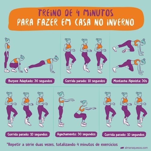 Treino de 4 minutos para fazer em casa no inverno Burpee Adaptado: 30 segundos Corrida parado: 10 segundos Montanha Alpinista: 30 segundos Corrida parado: 10 segundos Agachamento: 30 segundos Corrida parado: 10 segundos repetir a série duas vezes, totalizando 4 minutos de exercícios