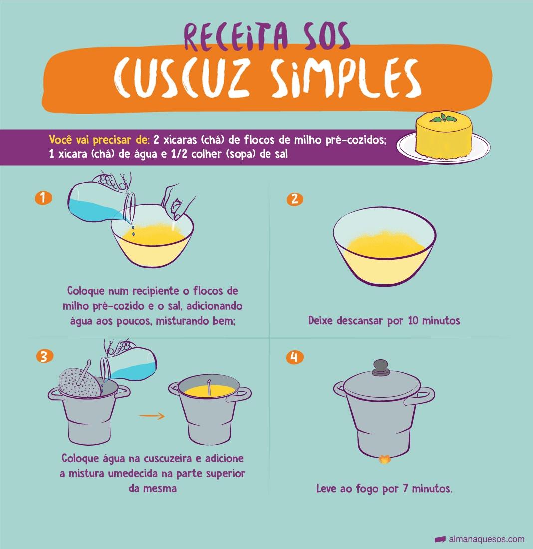 Cuscuz simples ingredientes: 2 xícaras (chá) de flocos de milho pré-cozidos; 1 xícara (chá) de água e 1/2 colher (sopa) de sal - coloque num recipiente o flocos de milho pré-cozido e o sal, adicionando água aos poucos, misturando bem deixe descansar por 10 minutos coloque água na cuscuzeira e adicione a mistura umedecida na parte superior da mesma leve ao fogo por 7 minutos.