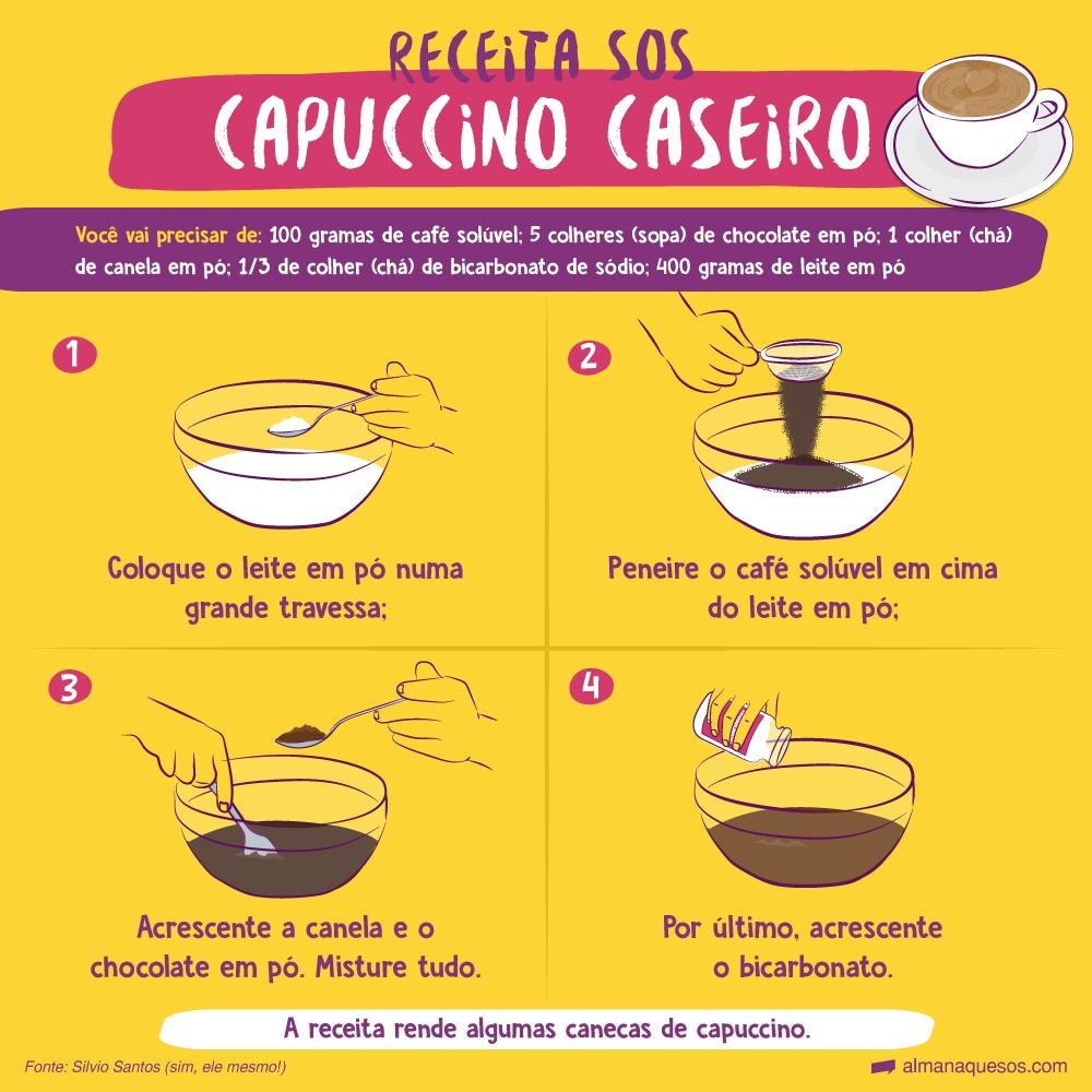 Capuccino caseiro Ingredientes 100 gramas de Café Solúvel 5 colheres (sopa) de Chocolate em Pó 1 colher (chá) de Canela em Pó 1/3 de colher (chá) de Bicarbonato de Sódio 400 gramas de Leite em Pó 1. Coloque o leite em pó numa grande travessa. 2. Peneire o café solúvel em cima do leite em pó. 3. Acrescente a canela e o chocolate em pó. Misture tudo. 4. Por último, acrescente o bicarbonato. A receita rende algumas canecas de capuccino. Fonte: Silvio Santos (sim, ele mesmo!)