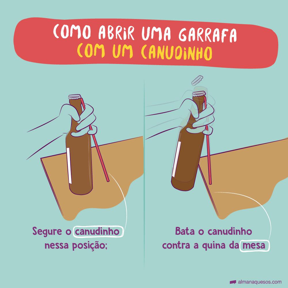 COMO ABRIR UMA GARRAFA COM UM CANUDINHO 1. Segure o canudinho nessa posição; 2. Bata o canudinho contra a mesa;