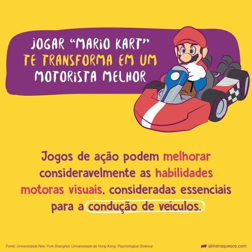 """Jogar """"Mario Kart"""" te transforma em um motorista melhor Jogos de ação podem melhorar consideravelmente as habilidades motoras visuais, consideradas essenciais para a condução de veículos. Fonte: Universidade New York Shanghai; Universidade de Hong Kong; Psychological Science"""