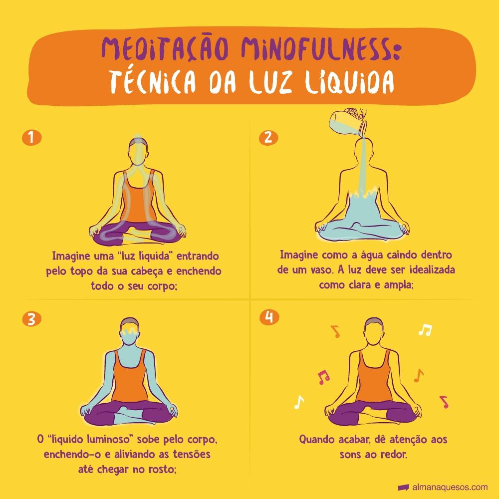 """Meditação Mindfulness: Técnica da luz líquida 1. Imagine uma """"luz líquida"""" entrando pelo topo da sua cabeça e enchendo todo o seu corpo; 2. Imagine como a água caindo dentro de um vaso. A luz deve ser idealizada como clara e ampla; 3. O """"líquido luminoso"""" sobe pelo corpo, enchendo-o e aliviando as tensões até chegar no rosto; 4. Quando acabar, dê atenção aos sons ao redor."""