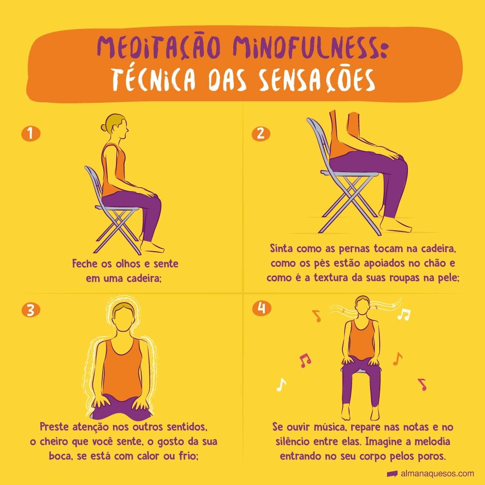 Meditação Mindfulness: Técnica das Sensações 1. Feche os olhos e sente em uma cadeira; 2. Sinta como as pernas tocam na cadeira, como os pés estão apoiados no chão e como é a textura da suas roupas na pele; 3. Preste atenção nos outros sentidos, o cheiro que você sente, o gosto da sua boca, se está com calor ou frio; 4. Se ouvir música, repare nas notas e no silêncio entre elas. Imagine a melodia entrando no seu corpo pelos poros.