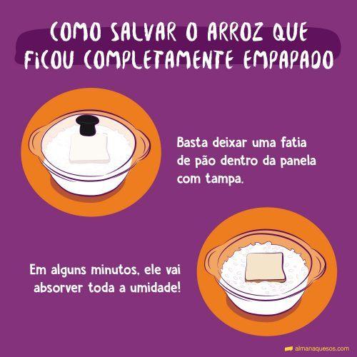 Como salvar o arroz que ficou completamente empapado Basta deixar uma fatia de pão dentro da panela com tampa. Em alguns minutos, ele vai absorver toda a umidade!