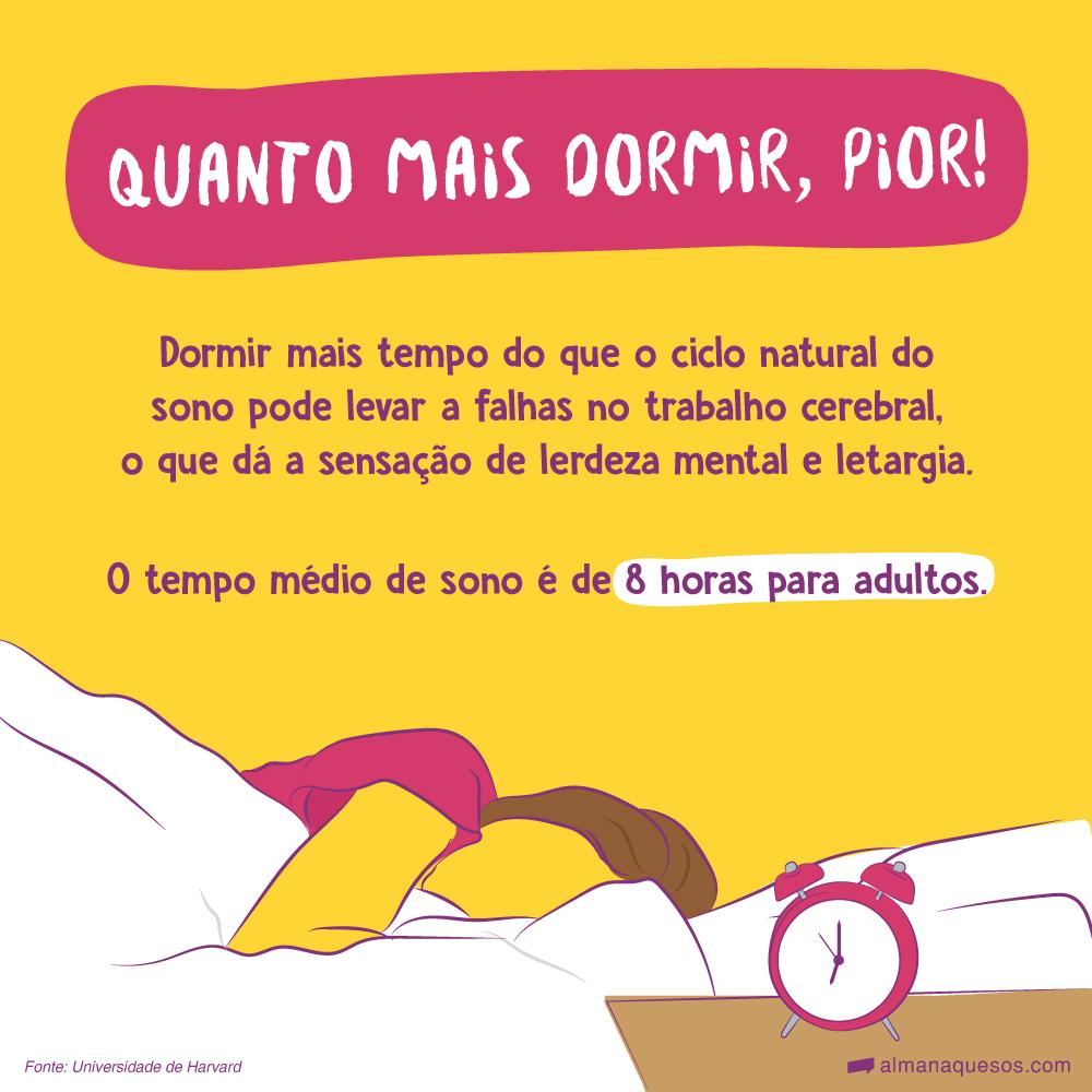 Quanto mais dormir, pior! Dormir mais tempo do que o ciclo natural do sono pode levar a falhas no trabalho cerebral, o que dá a sensação de lerdeza mental e letargia. O tempo médio de sono é de 8 horas para adultos. Fonte: Universidade de Harvard