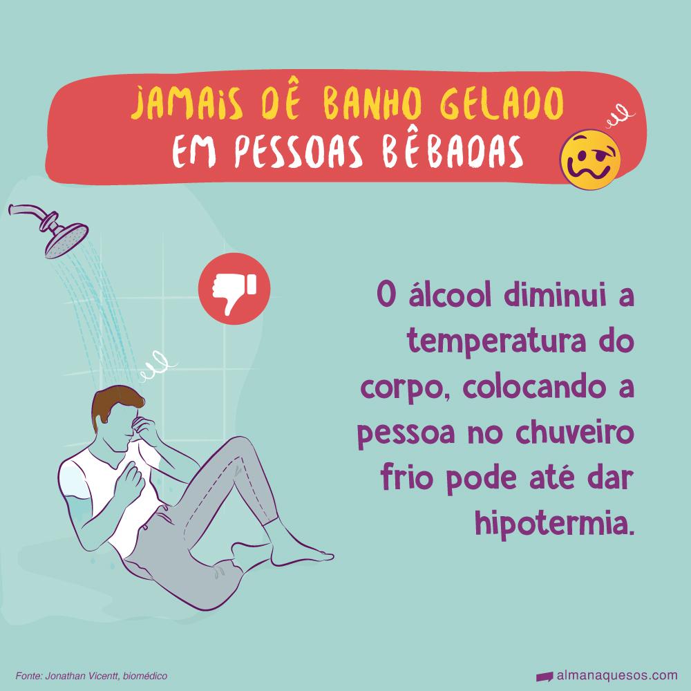 Jamais dê banho gelado em pessoas bêbadas O álcool diminui a temperatura do corpo, colocando a pessoa no chuveiro frio pode até dar hipotermia. 😪 Fonte: Jonathan Vicentt, biomédico