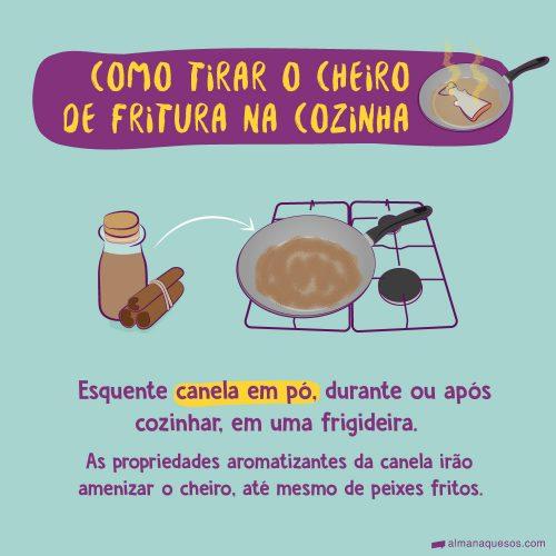 Como tirar o cheiro de fritura na cozinha (desenho de um peixe frito na frigideira exalando cheiro) Esquente canela em pó, durante ou após cozinhar, em uma frigideira. As propriedades aromatizantes da canela irão amenizar o cheiro, até mesmo de peixes fritos.