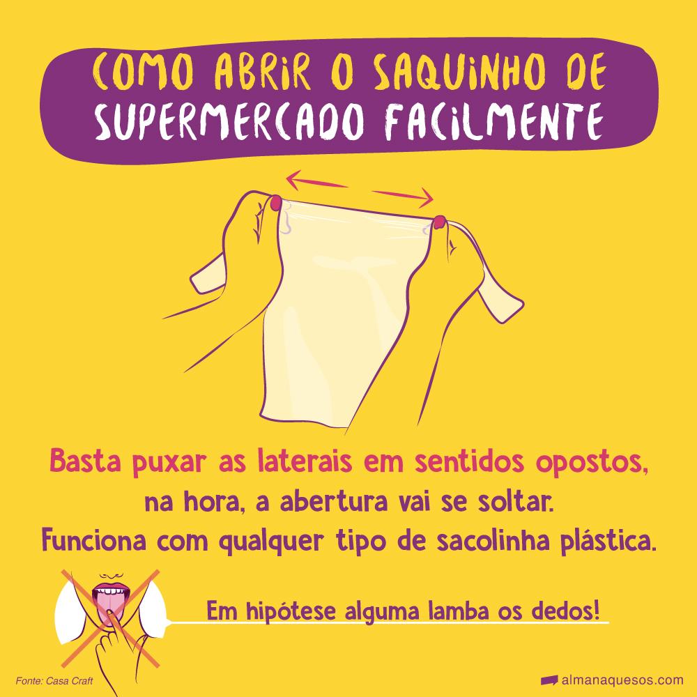 Como abrir o saquinho de supermercado facilmente Em hipótese alguma lamba os dedos! Basta puxar as laterais em sentidos opostos, na hora a abertura vai se soltar. Funciona com qualquer tipo de sacolinha plástica.