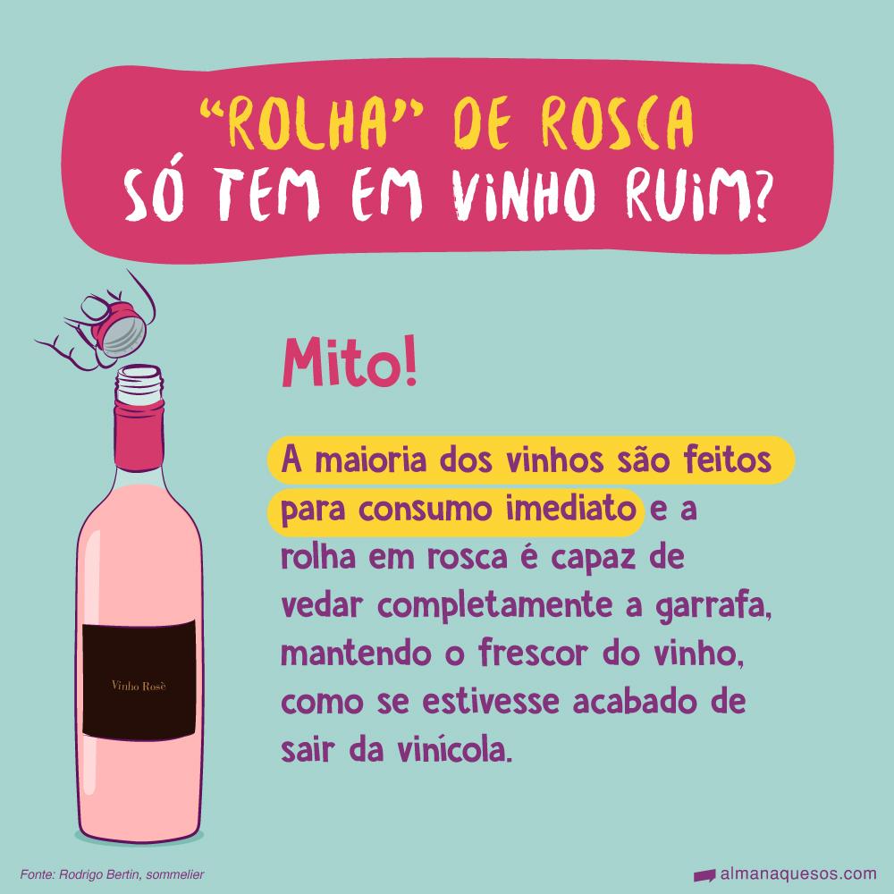 """""""Rolha"""" de rosca só tem em vinho ruim? Mito! A maioria dos vinhos são feitos para consumo imediato e a rolha em rosca é capaz de vedar completamente a garrafa, mantendo o frescor do vinho, como se estivesse acabado de sair da vinícola. Fonte: Rodrigo Bertin, sommelier"""