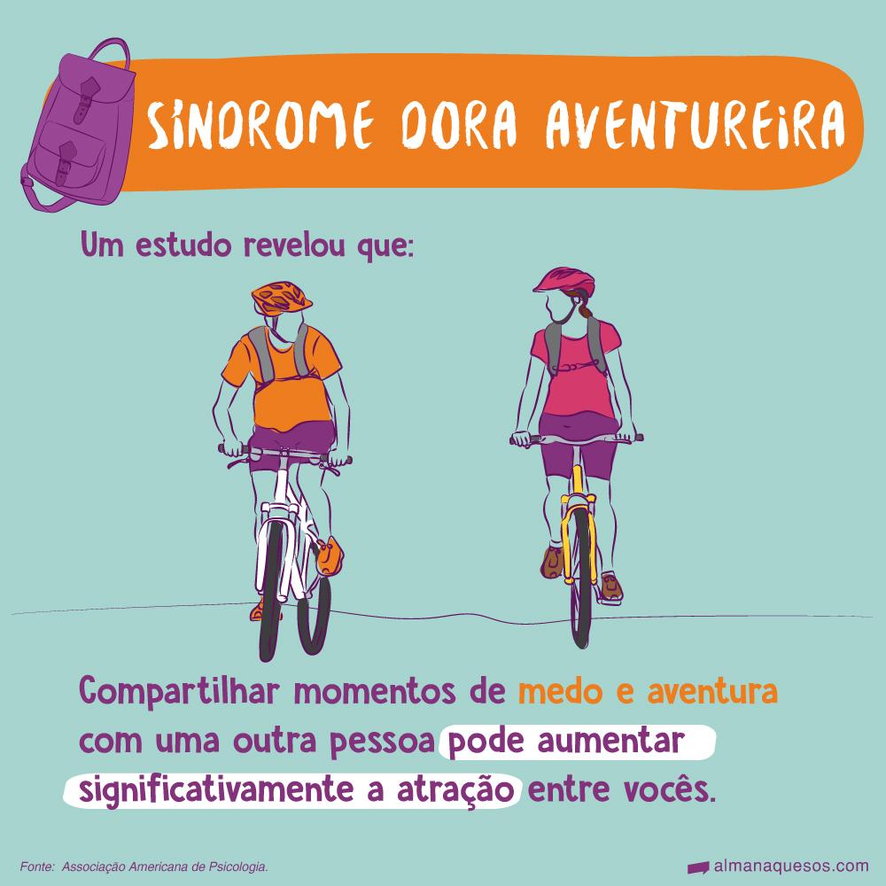 Síndrome Dora Aventureira Um estudo revelou que: Compartilhar momentos de medo e aventura com uma outra pessoa pode aumentar significativamente a atração entre vocês. Fonte: Associação Americana de Psicologia.