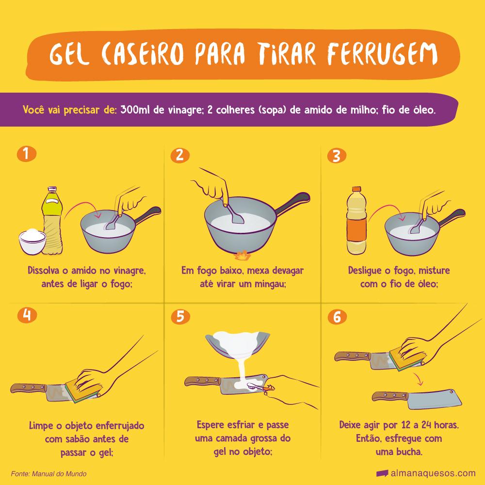Gel caseiro para tirar Ferrugem Você vai precisar de: 300ml de vinagre; 2 colheres (sopa) de amido de milho; fio de óleo. 1. Dissolva o amido no vinagre, antes de ligar o fogo; 2. Em fogo baixo, mexa devagar até virar um mingau; 3. Desligue o fogo, misture com o fio de óleo; 4. Limpe o objeto enferrujado com sabão antes de passar o gel; 5. Espere esfriar e passe uma camada grossa do gel no objeto; 6. Deixe agir por 12 a 24 horas. Então, esfregue com uma bucha. Fonte: Manual do Mundo