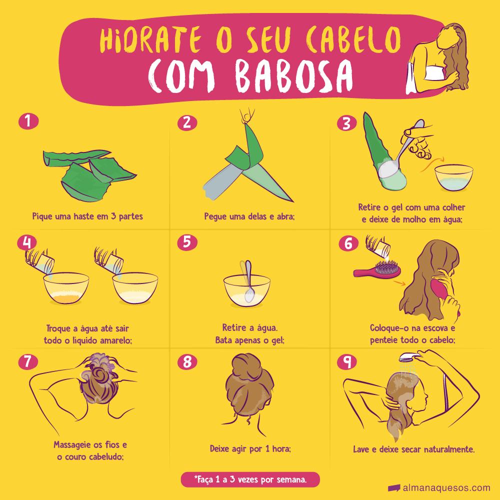 Hidrate o seu cabelo com Babosa 1. Pique uma haste em 3 partes; 2. Pegue uma delas e abra; 3. Retire o gel com uma colher e bata; 4. Coloque-o na escova e penteie todo o cabelo; 5. Massageie os fios e o couro cabeludo; 6. Deixe agir por 1 hora. 7. Lave e deixe secar naturalmente. *. Faça 2 a 3 vezes por semana.