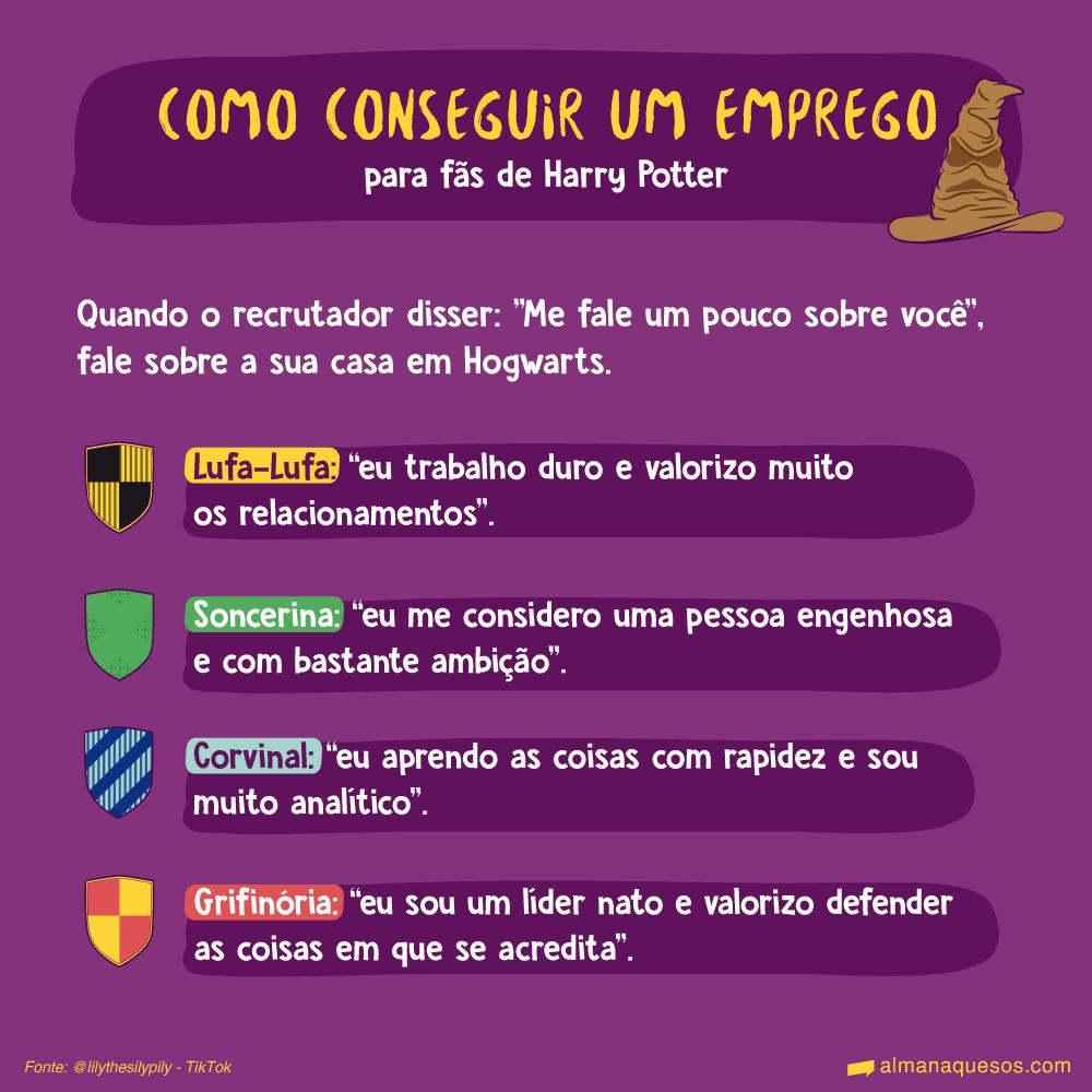 """Como conseguir um emprego para fãs de Harry Potter Quando o recrutador disser: """"Me fale um pouco sobre você"""", fale sobre a sua casa em Hogwarts. Lufa-Lufa: """"eu trabalho duro e valorizo muito os relacionamentos"""". Soncerina: """"eu me considero uma pessoa engenhosa e com bastante ambição"""". Corvinal: """"eu aprendo as coisas com rapidez e sou muito analítico"""". Grifinória: """"eu sou um líder nato e valorizo defender as coisas em que se acredita"""". Fonte: @lilythesilypily - TikTok"""