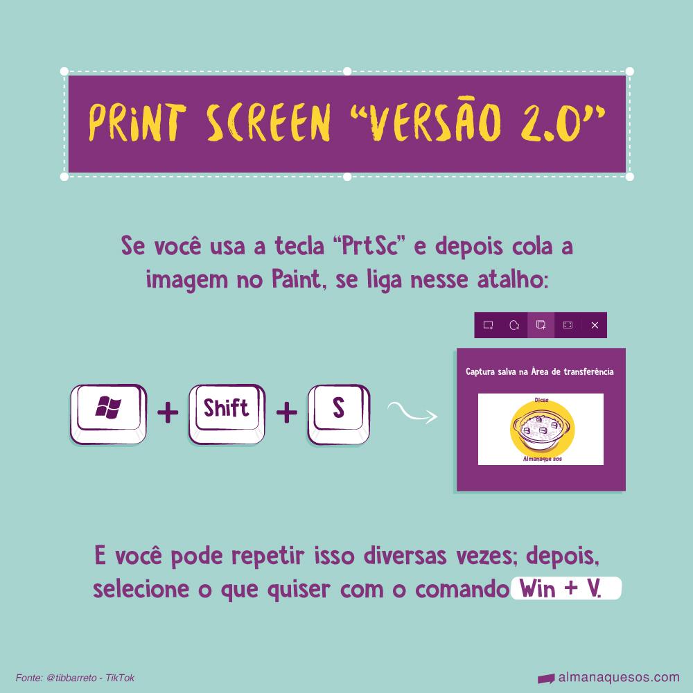 """Print Screen """"versão 2.0"""" Se você usa a tecla """"PrtSc"""" e depois cola a imagem no Paint, se liga nesse atalho: Win + Shift + S Esse comando permite que você selecione a região da tela que quer copiar. E você pode repetir isso diversas vezes; depois, selecione o que quiser com o comando Win + V. Fonte: @tibbarreto - TikTok"""